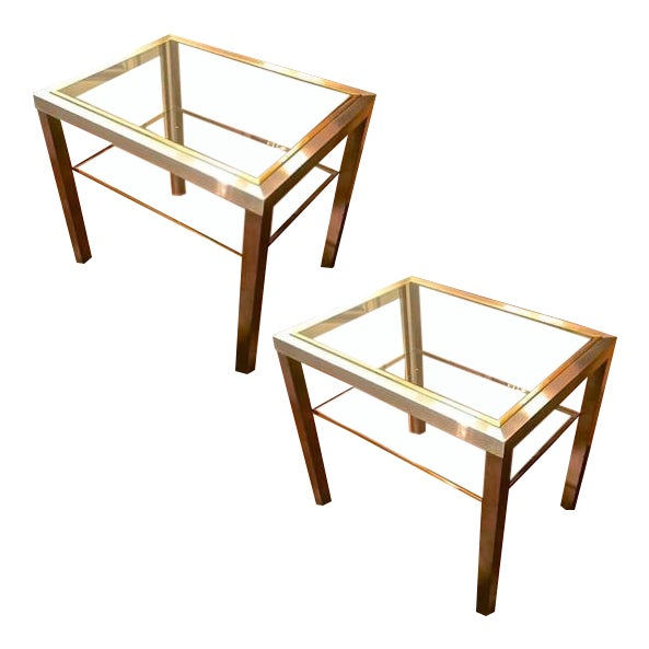 Guy Lefevre Pair of Pure Two Tiers Side Table in Brushed Steel and Bronze For Sale