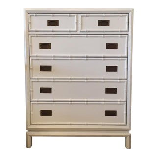 Vintage Thomasville Painted White Faux Bamboo Tall Dresser For Sale
