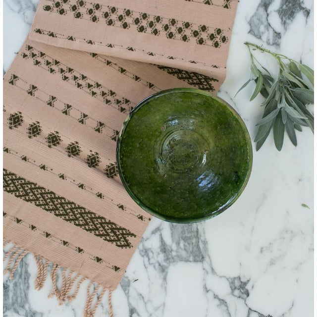 Handwoven Guatemalan Dusty Rose and Olive Green Table Runner For Sale - Image 4 of 6