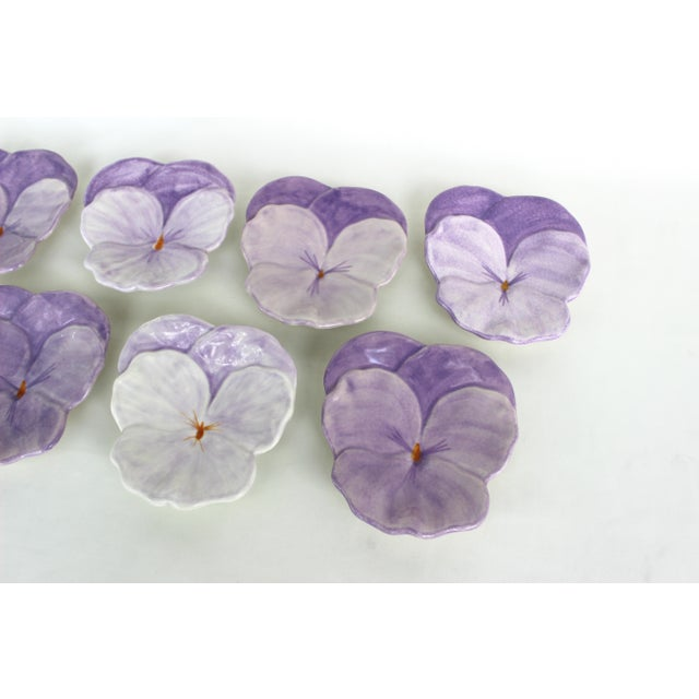 1950s Ernestine Cannon Pansy Plates - Set of 7 For Sale - Image 5 of 9