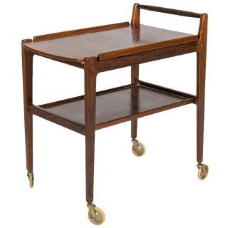 Danish Rosewood & Brass Serving Bar Cart