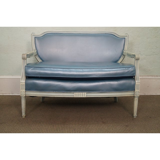 Hollywood Regency French Louis XVI style paint frame settee. Solid wood frame, vintage, custom painted & faux leather...