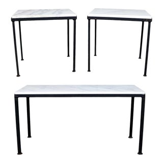 Trio of Small Black Iron Frame White Marble Topped Tables for Indoors or Out For Sale