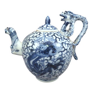 Antique Chinese Blue & White Porcelain Figural Dragon Teapot