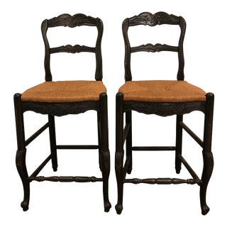French Country Habersham Stools With Rush Seats - a Pair For Sale
