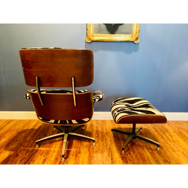 Modern Custom Zebra Hide Eames Style Lounge Chair and Ottoman For Sale - Image 11 of 12