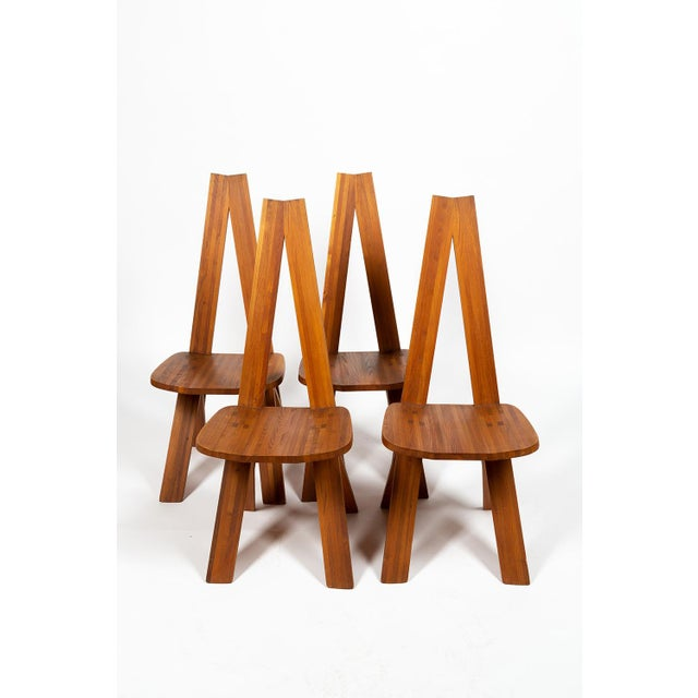 Four Chairs by Pierre Chapo S45 in Solid Elm For Sale - Image 12 of 12