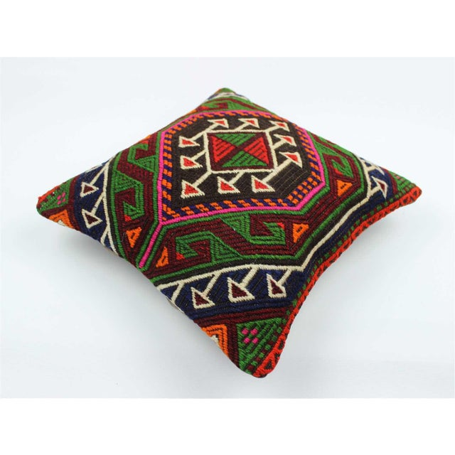 Vintage Turkish Kilim Wool Rug Pillow Case For Sale In Atlanta - Image 6 of 6