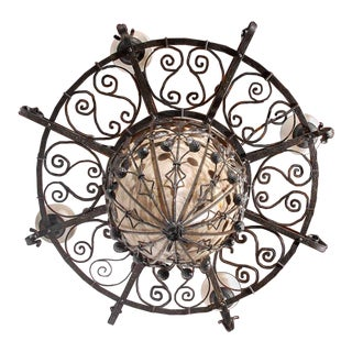 French Iron and Alabaster Fixture For Sale