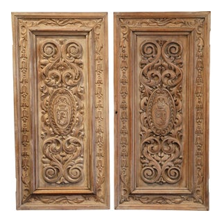 19th Century French Hand-Carved Walnut Panel Doors With Family Crests - a Pair