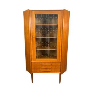 Vintage Danish Mid Century Modern Teak and Glass Corner Cabinet For Sale