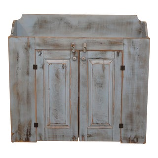 Primitive Style Blue Paint Decorated 2 Door Dry Sink Cupboard