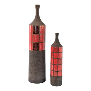 Global Views Red Ceramic Vases - a Pair