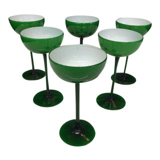 Carlo Moretti Emerald Cased Glass Long Stemmed Coupes - Set of 6