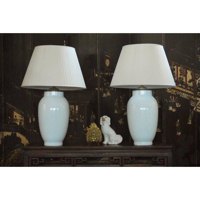 Gold Blanc de Chine Baluster Form Table Lamps - A Pair For Sale - Image 8 of 9