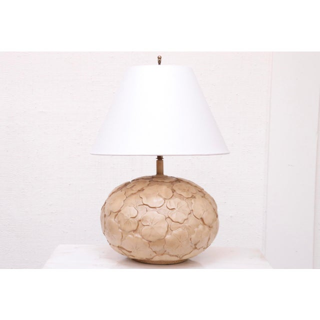Ceramic Neutral Hand Made Ceramic Lily Pad Lamp For Sale - Image 7 of 7