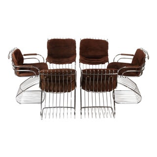 Gastone Rinaldi Italian Modernist Solid Steel Dining Chairs for Rima - Set of 6 For Sale