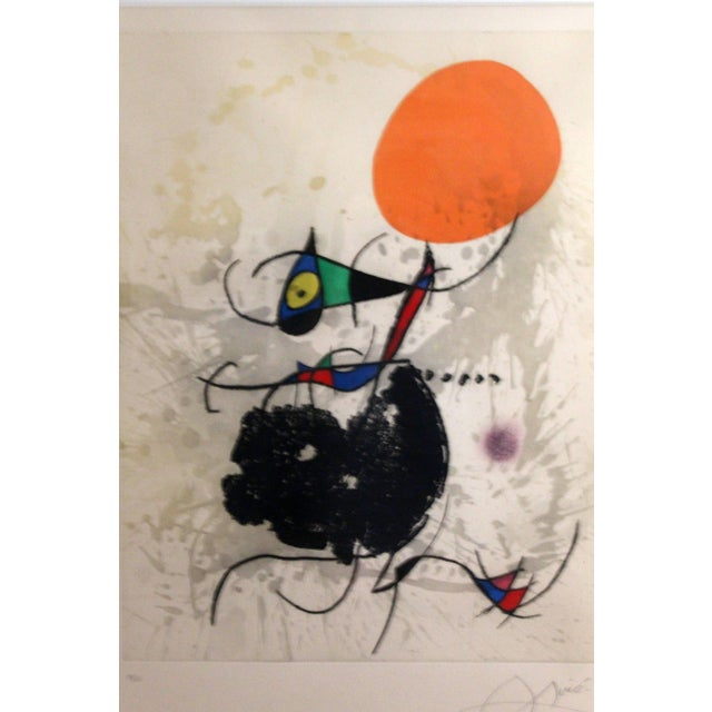 """Mid-Century Modern 1970s Color Etching Aquatint """"Miro Terre Atteinte Et Soleil"""" by Joan Miro For Sale - Image 3 of 8"""