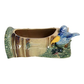 1960s Vintage Ceramic Bamboo and Seagull Planter For Sale