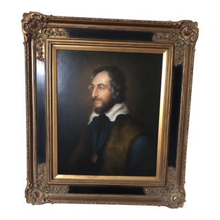 Vintage Mid-Century Federal Style Portrait Framed Oil Painting For Sale