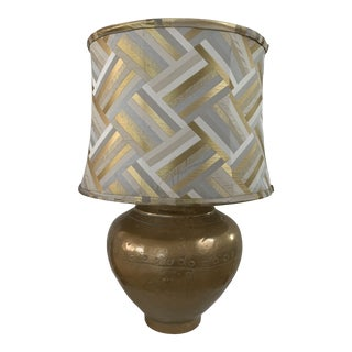 Matte Brass Riveted Lamp With Custom Metallic Shade in the Style of Sarreid For Sale