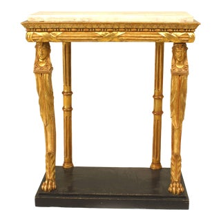 Continental Empire Gilt Sphinx and Marble Console Table For Sale
