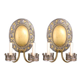 Large Bronze Sconces With Gothic Detail - a Pair