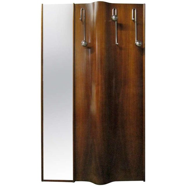 Metal Italian Wall-Mounted Coat Rack With Mirror For Sale - Image 7 of 7