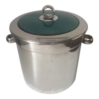 Mid-Century Turquoise Enameled Silver Ice Bucket