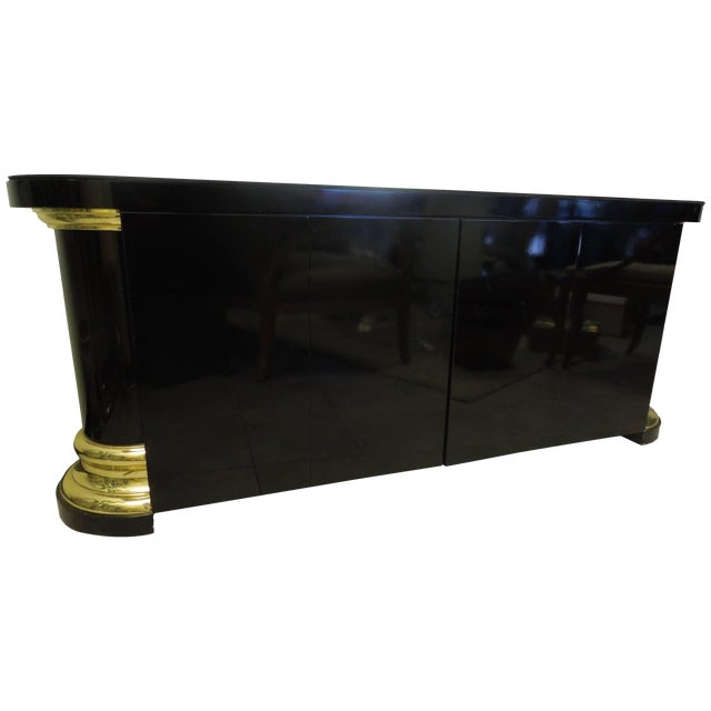 Masculine and Sexy Black and Brass Vintage 1970s Sideboard For Sale