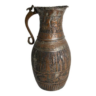 Antique 19th Century Middle Eastern Tinned Copper Ewer For Sale