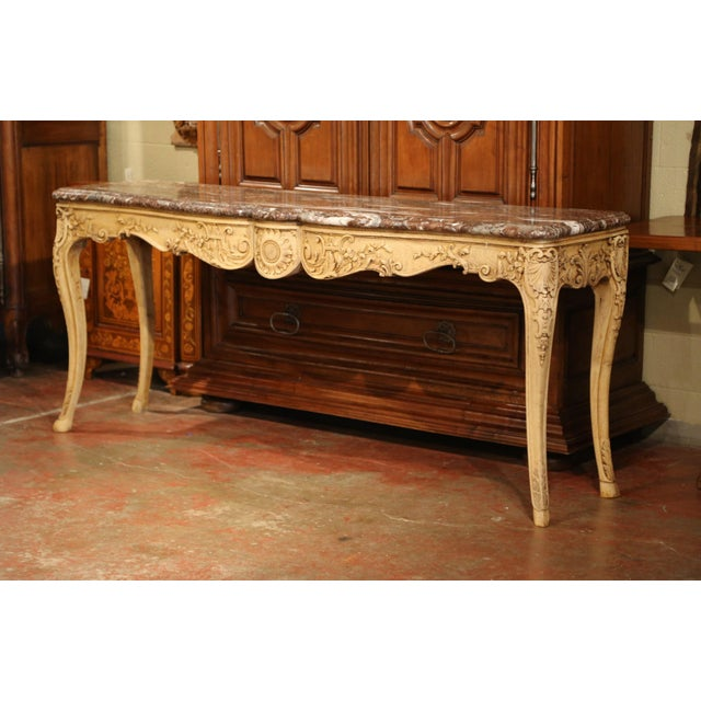 19th Century French Louis XV Carved Oak Serpentine Console Table With Marble Top For Sale - Image 9 of 9