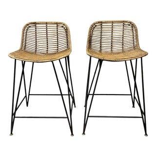 Palecek Hermosa Coastal Beach Metal Frame Rattan Indoor / Outdoor Counter Stools- a Pair For Sale