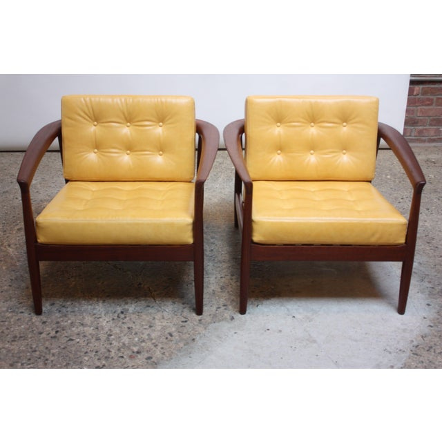 DUX Folke Ohlsson for Dux Swedish Modern Leather and Teak Lounge Chairs- A Pair For Sale - Image 4 of 13