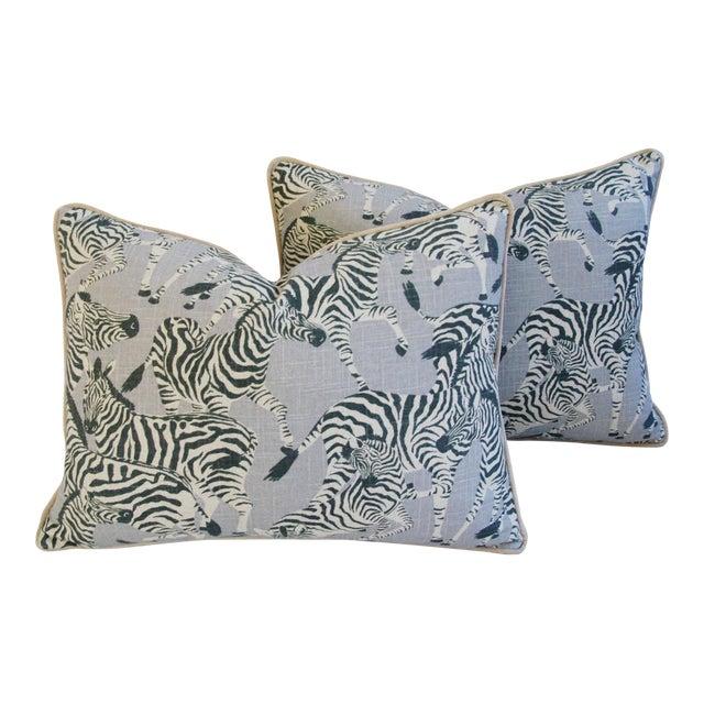 """Safari Zebra Linen & Velvet Feather/Down Pillows 24"""" X 18"""" - Pair For Sale"""