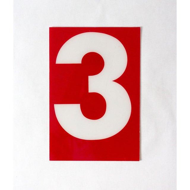 "Americana Vintage ""Number 3"" Gas Station Sign For Sale - Image 3 of 3"
