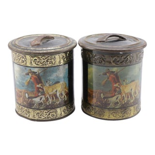 Vintage Tole Canisters Featuring a Hunt Scene - a Pair For Sale