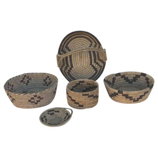 Collection of Five Papago Indian Woven Baskets For Sale