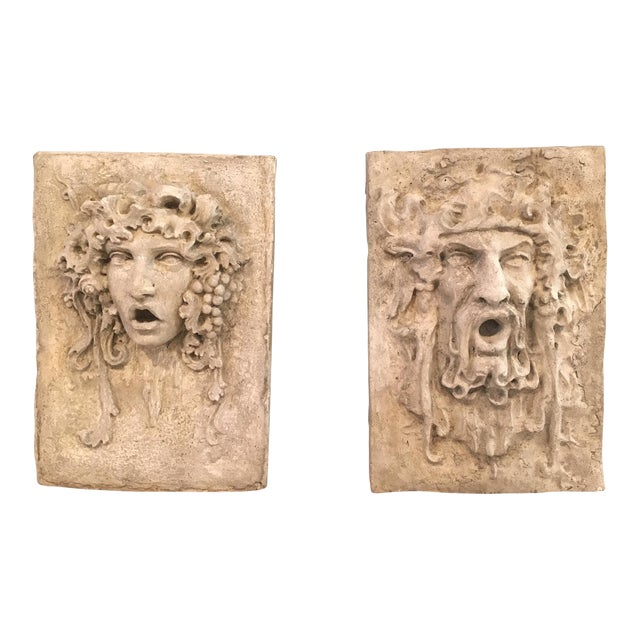 North Wind and Bacchus Cement Garden Plaques For Sale