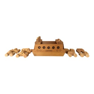 Vintage Wooden Toy Ferry With Cars — Set of 9 For Sale
