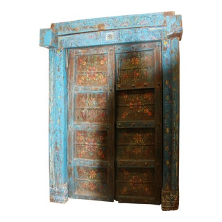 Antique Doors Jaipur Distressed Blue Floral Indian Architecture 18c For Sale