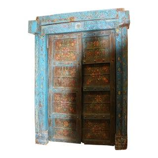 Jaipur Floral Teal Blue India Antique Doors Architecture Design For Sale