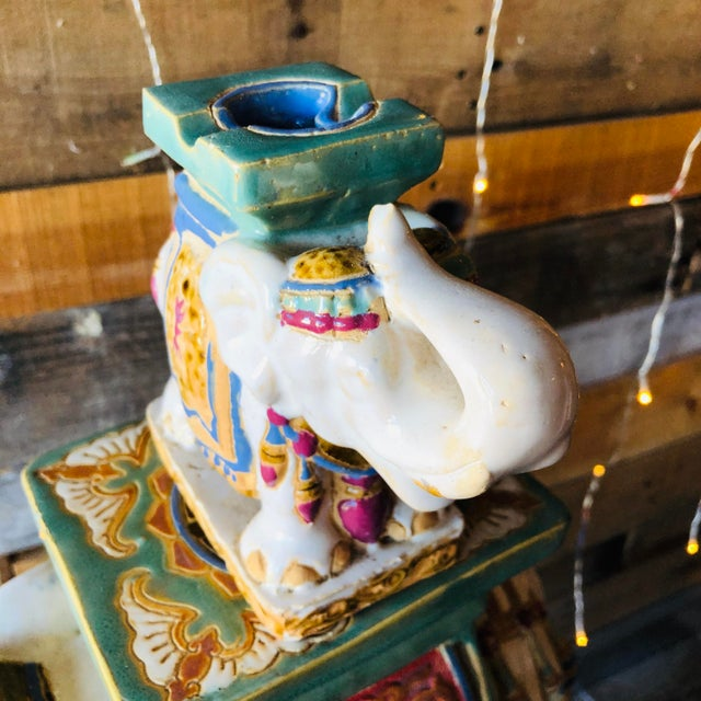 Ceramic Palm Beach Hollywood Regency Elephant - Set of 3 For Sale - Image 9 of 11