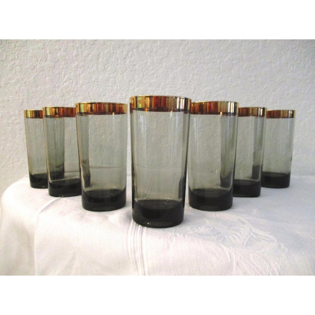 1970s 1970s Gold Banded Smoke Highball Glasses, Set of 7 For Sale - Image 5 of 5