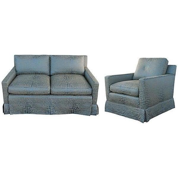 Faux Crocodile Sofa & Club Chair - Image 1 of 7