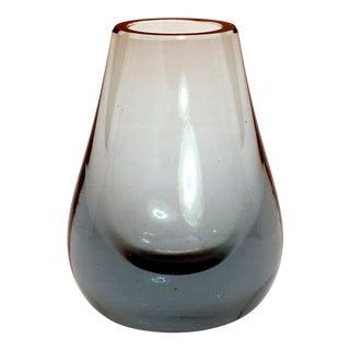 1960s Vintage Whitefriars Arctic Blue Hambone Bud Vase For Sale