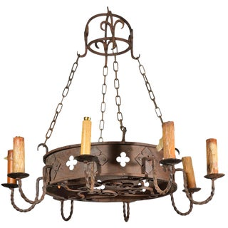 Circa 1900 Round Antique Iron Chandelier From France For Sale