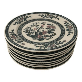 Floral Greek Key Design Dinner Plates S-8 For Sale