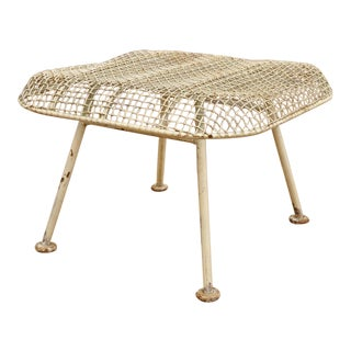 1950s Vintage Russell Woodard Sculptura Metal Mesh Wrought Iron Ottoman Footstool For Sale
