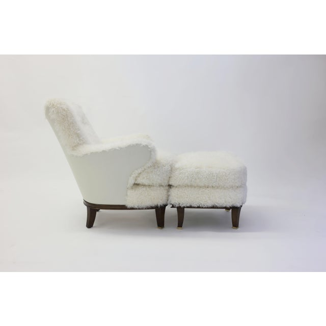 Shearling Covered Shaped Back Chair With Wood Base and Legs With Metal Cap Feet For Sale - Image 10 of 11
